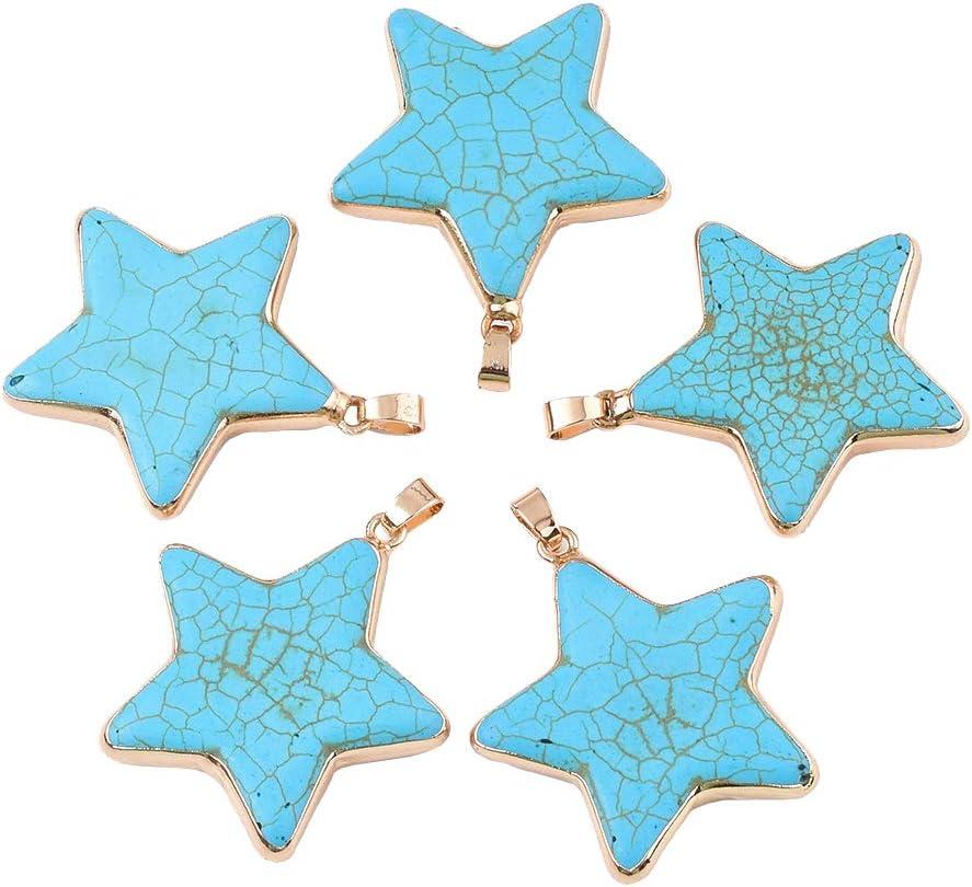 CHGCRAFT 5pcs Colgantes de Estrella Azul Cielo con Fornituras de Latón Dorado OVA Star Turquoise Charms para Mujeres Collar Pulseras Fabricación de Joyas