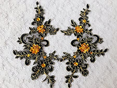 Handmade black sew on crystal patches sequins rhinestones lace