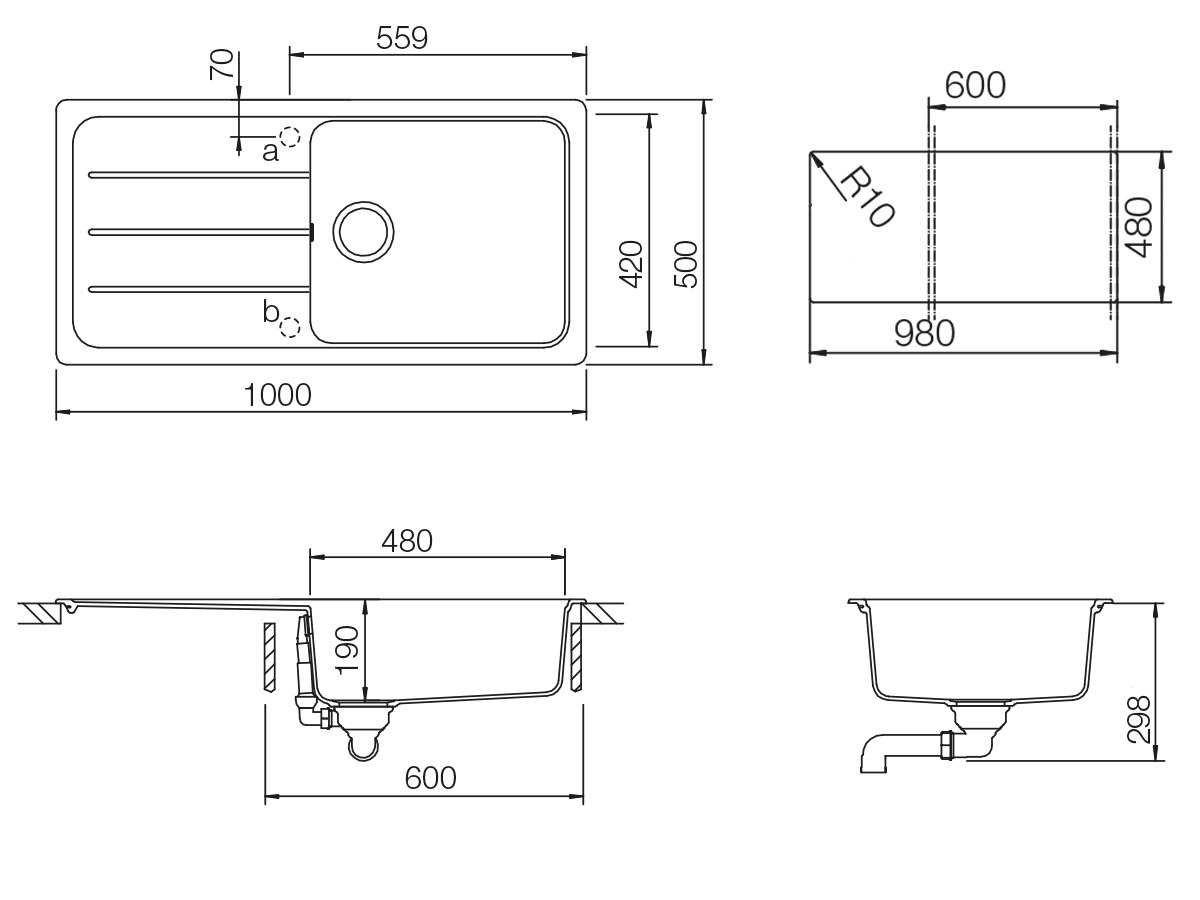 Formhaus D-100L Schock /Évier de cuisine forme maison D-100L /Évier