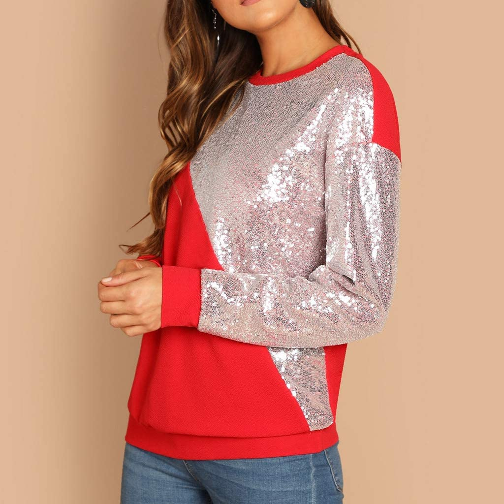 Xturfuo Womens Blouses Long-Sleeved Round Neck Flashing Sequins Contrast Color Stitching Pullover Sweater