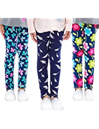 a11573bf56c5fd 3-Pack Printing Flower Girl Leggings Kids Classic Pants 4-13Y