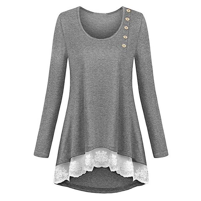 Manga Larga de Encaje para Mujer Color Puro Camisetas Casual Tops Sueltos Blusa de Túnica ❤ Manadlian: Amazon.es: Ropa y accesorios