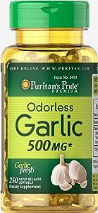 Puritan's Pride Odorless Garlic 500 mg-250 Rapid Release Softgels
