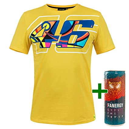 Valentino Rossi Vr46 Herren T Shirt Fanartikel Helm Helmet Gelb