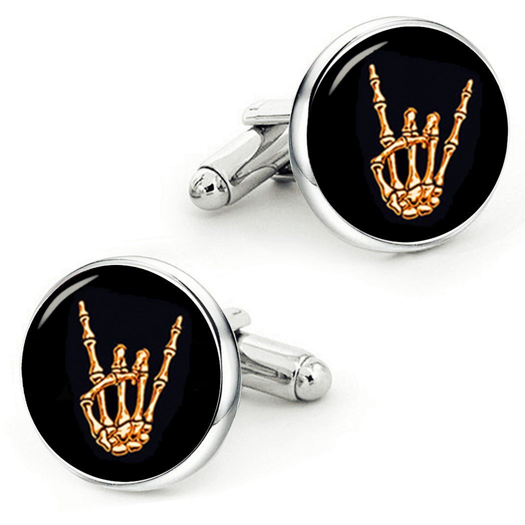 Kooer Skull Rock Hand Cufflinks Skull Hand Custom Personalized Cuff Links Tie Clip Metal Horns Cuff links