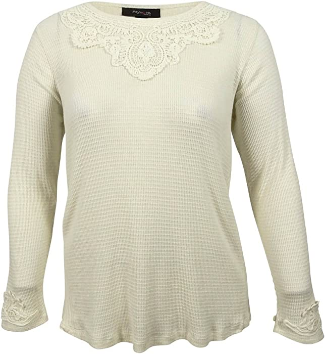 576d5a0a216c6 Style   Co. Womens Plus Lace Solid Casual Top Ivory 0X at Amazon ...