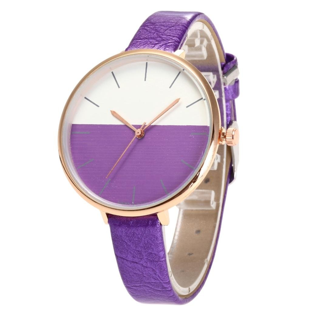 Big Promotions,2018 Women's Watch Fashion Casual PU Leather Narrow Band Strap Analog Quartz Round Watch Bracelet Gift for Teen Girls/Lover (Purple)