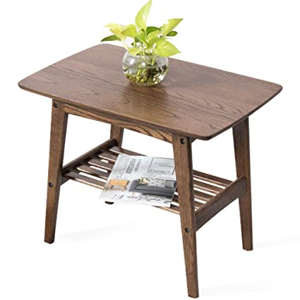 Amazon.com: YI KUI Coffee Table Wooden 2-Tier Corner Table End Table ...