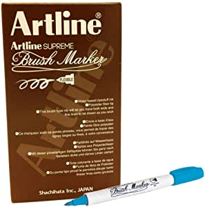 ,Artline FPE-F Supreme Brush Marker, Sky Blue Colour, PACK OF 12