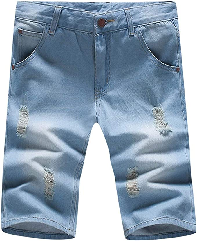 XQXCL Mens Summer Hollow Printing Stitching Jeans Fashionable Comfortable Large-Size Shorts