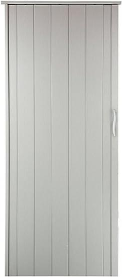 Puerta plegable corredera blanca, altura 202 cm, ancho de montaje hasta 85 cm, perfil doble pared: Amazon.es: Bricolaje y herramientas