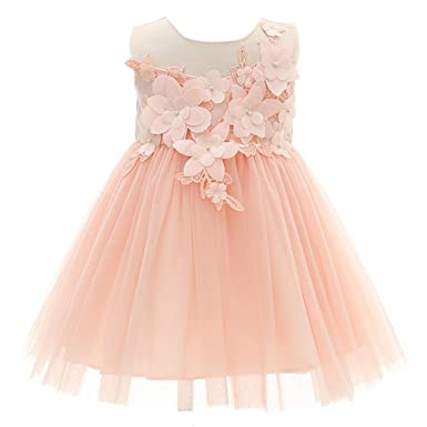 AHAHA Baby Mädchen Blume Kleider Rosa Prinzessin Brautkleider Party ...