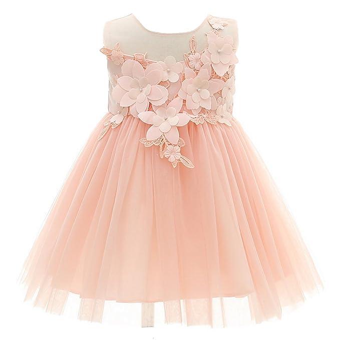e3023dd3e88c AHAHA Abitino da Fiori per Neonata Abiti da Sposa Rosa Principessa Vestito  da Festa di Compleanno per Bambina 0-2 Anni  Amazon.it  Abbigliamento
