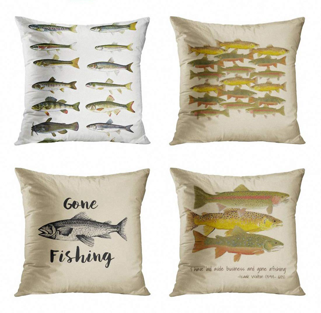 ArtSocket Set of 4 Throw Pillow Covers Camping Vintage Fish Cabin Lodge Nature Fishing Fisherman Man Sofa Trout Salmon Decorative Pillow Cases Home Decor Square 18x18 Inches Pillowcases