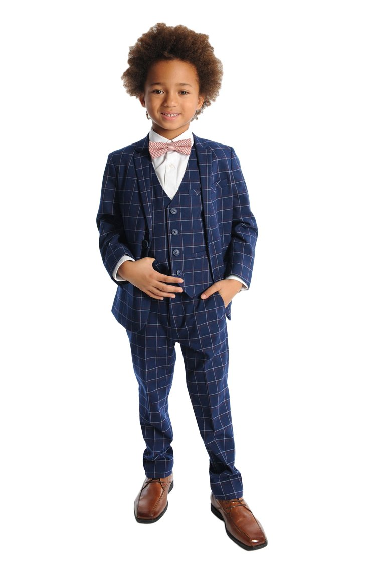 Appaman Little Boys' Windowpane Two Piece MOD Suit, Navy Windowpane, 6