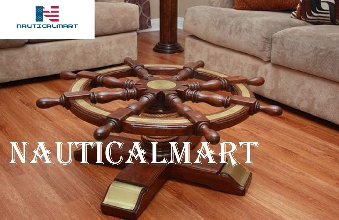 Amazon Com Ship Wheel Table Nautical Wooden Ship Wheel Coffee Table Glass 24 Living Room Furniture Office Furniture Pirate Kitchen Dining