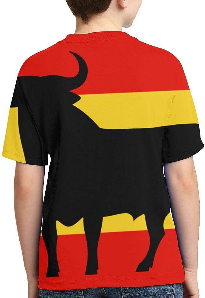 zhkx bandera de España con el Toro de Osborne - Camiseta de manga corta para niño y niña: Amazon.es: Ropa y accesorios