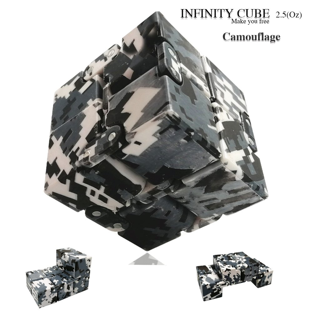 LIHJO New Fashion Interstellar Infinity Cube Fidget Cube Anti Stress Adults Kids Gift EDC for ADHD Funny Finger Toys 2.5(OU)Camouflage