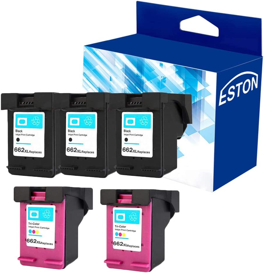 ESTON Re-Manufactured Ink Cartridge Replacement for HP 662XL 662 XL for HP Deskjet Ink Advantage 1015 1515 2515 2545 2645 3515 3545 4645 (3 Black 2 Color, 5-Pack)