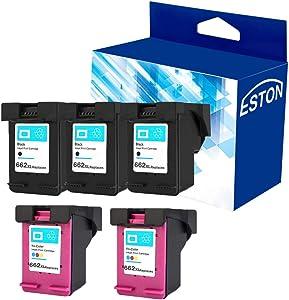 ESTON Re-Manufactured Ink Cartridge Replacement for HP 662XL 662 XL for HP Deskjet Ink Advantage 1015 1515 2515 2545 2645 3515 3545 4645 (3 Black 2 Color, 5-Pack)