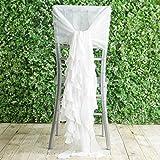 Efavormart 1 Set White Premium Designer Curly Willow Chiffon Chair Sashes for Home Wedding Birthday Party Dance Banquet Decoration