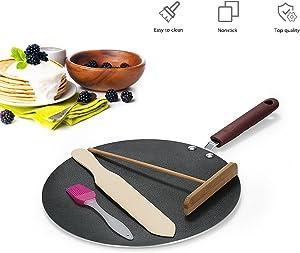 Blusea Pancake Pan Crepe Maker Flat Pan Griddle Pan with Spreader & Spatula Crepe Maker Griddle