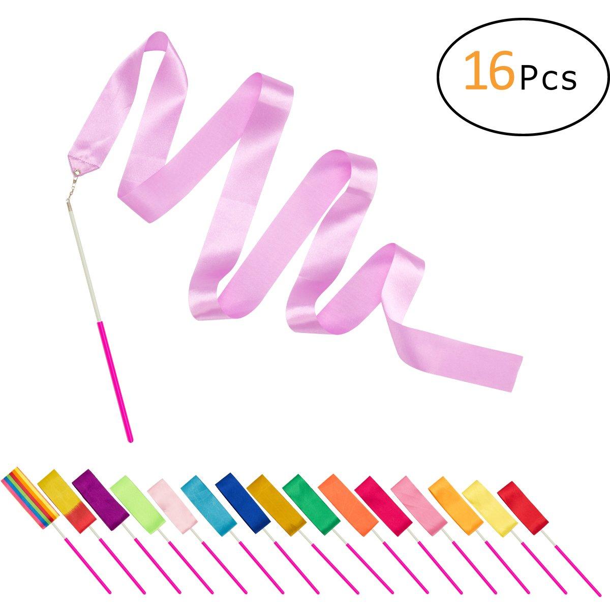 PAMASE 16 Packs Kids Dancing Gymnastics Ribbon Wands, 6'6
