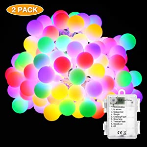 BrizLabs Battery Globe Lights, 2 Pack 50 LED 17.07ft Ball String Lights, Waterproof 8 Modes Multicolor Globe Lights, Led String Lights for Indoor/Outdoor, Wedding Party, Dorm Room, Bedroom, Chiristmas