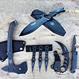 Defender 7pc Tactical Pocket Led Knife Throwing Knives Full Tang Knife Tomahawk Axe Hunting Combat Karambit Claw Knife Survival Set | With Holt Multi Tool Key Chain Review