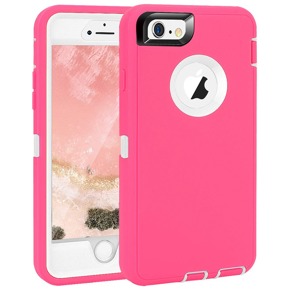 "iPhone 6 Plus/6S Plus Case, Maxcury Heavy Duty Shockproof Series Case for iPhone 6 Plus/6S Plus (5.5"") with Built-in Screen Protector Compatible with All US Carriers (Rose/White)"