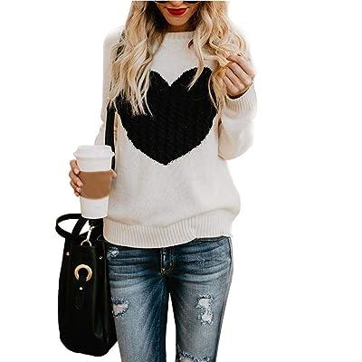 Kathariiy Long Sleeve Heart Patch Jumper Tops Women's Pullover Sweaters Knit Round Neck Loose Generous: Hogar