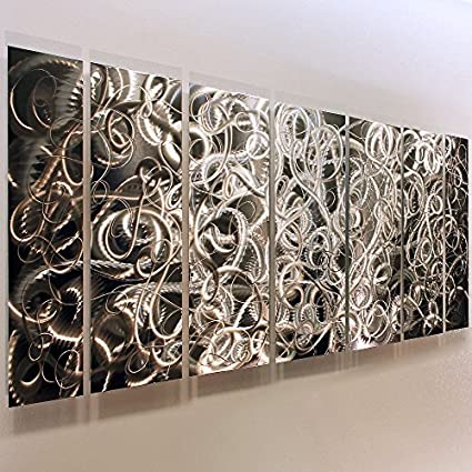 Amazon.com: Eye-Catching Natural Silver Modern Abstract Swirl Etched ...