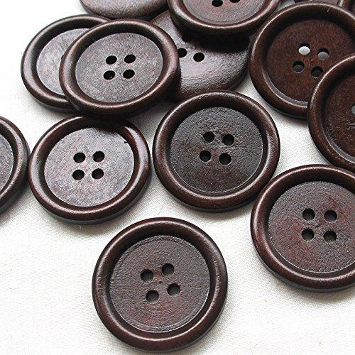 Dandan DIY New 40pcs 30mm Big Brown Wood Buttons 4 (New Sewing Craft Buttons)
