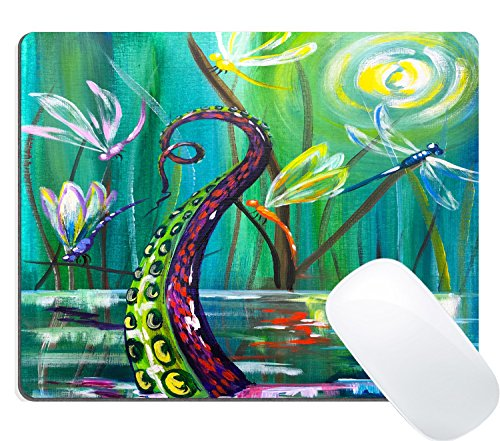 Wknoon Gaming Mouse Pad Custom, Abstract Octopus Tentacle Rises Up Out of Pond Dragonfly Oil Painting (Abstract Pond)