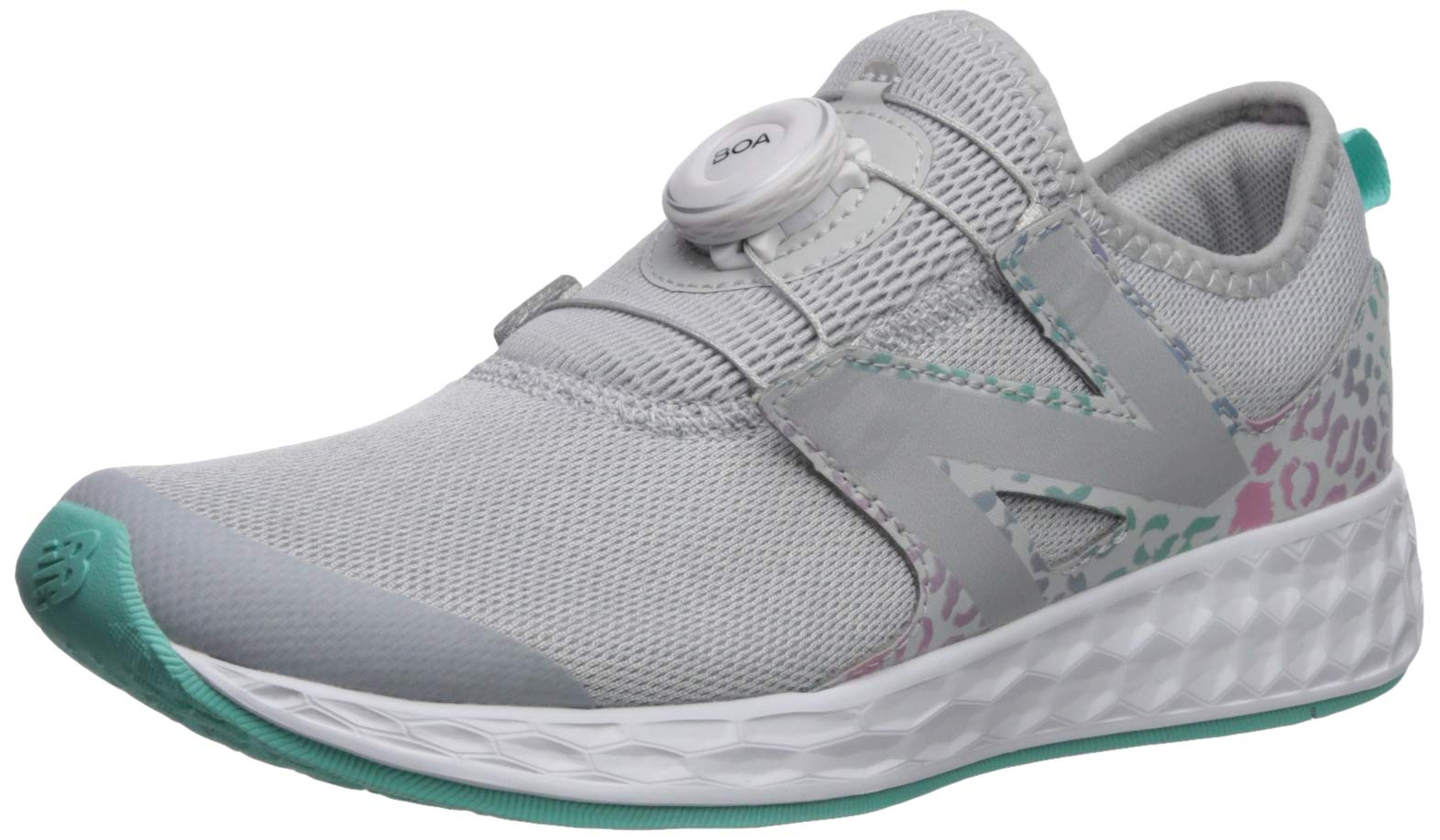 New Balance Girls' N Speed V1 Running Shoe, Light Aluminum/Tidepool, 12.5 M US Little Kid