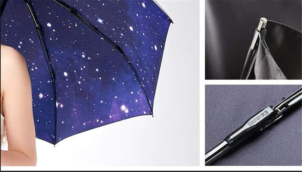 ZWYY Travel Umbrella Women UV Small Umbrellas Parasol Manual Compact Windproof Rain Umbrella Waterproof Portable Ultralight Umbrella,A,3fold