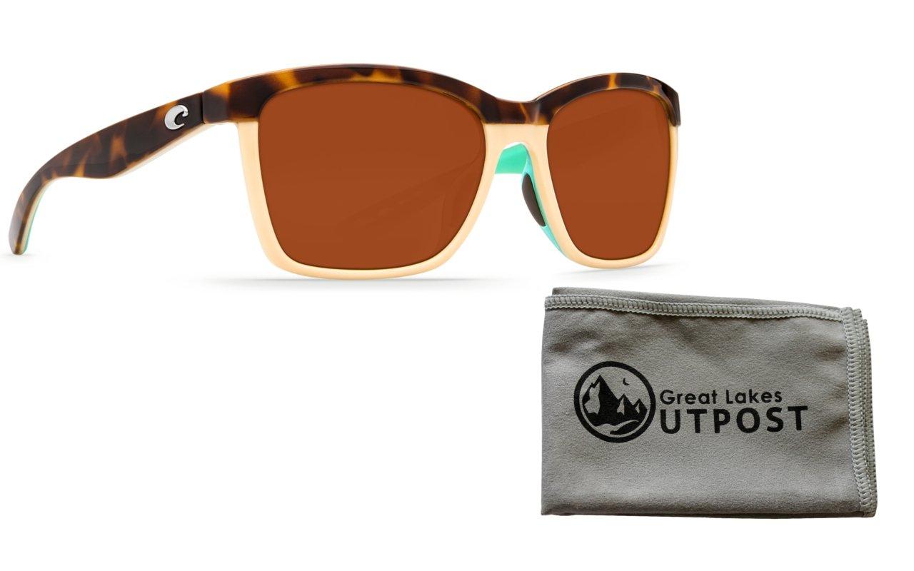 e7a11c9528451 Costa Anaa Copper 580P Shiny Retro Tort Cream Mint Sunglasses Bundle with  Cloth
