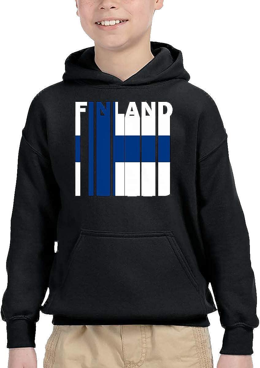 UGFGF-1S Finland Flag Word Kid Boys Girls Long Sleeve Sweatshirts Pullover Hoodie 2-6T