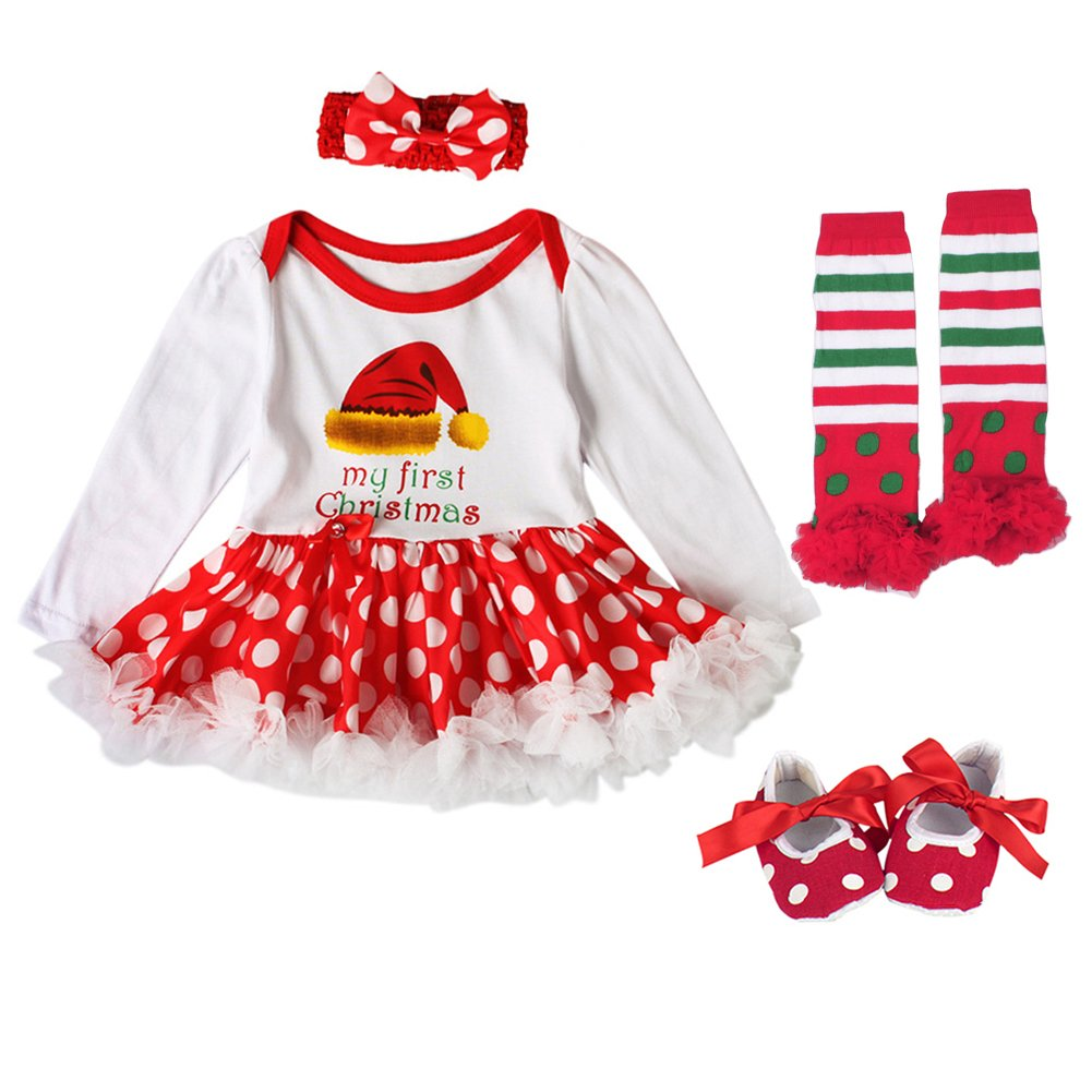 FYMNSI Baby Girls 1st Christmas Outfits Romper Dress Headband Shoes Leggings