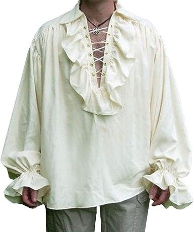 Hombres Medieval Camisas Gótico Steampunk Camisas de Manga Larga Elegante Volante Plisado Blusa Lace-up Cuello en V Blusa Tops: Amazon.es: Ropa y accesorios