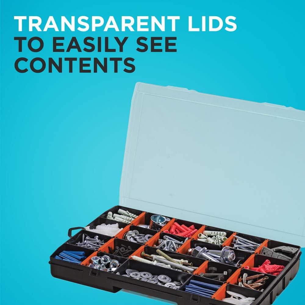 Screw Organizer /& Craft Storage BDST60714AEV 22-Compartment 2-Pack beyond by BLACK+DECKER Plastic Organizer Box with Dividers