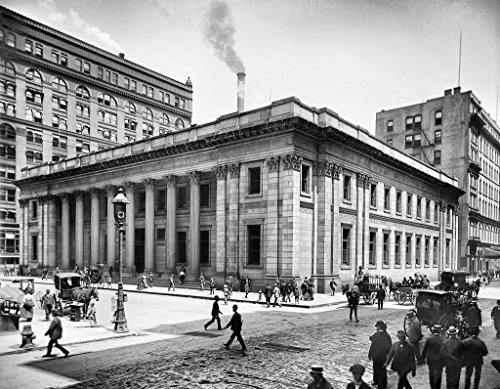 Chicago Historic Black & White Photo, The Savings Bank at Quincy & LaSalle Streets, c1915, 16x20in