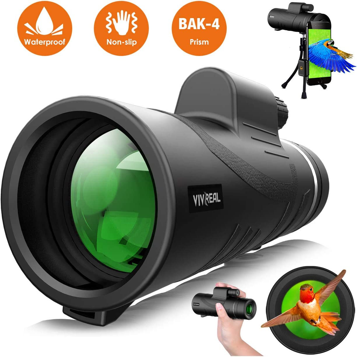Monocular Telescope – 12X50 High Power HD Monocular for Bird Watching with Smartphone Holder Tripod IPX7 Waterproof Monocular Made by Hyper FMC BAK4 Prism Eco-Friendly Materials