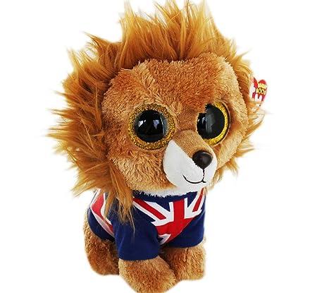 TY Beanie Boo - León de peluche con camiseta de bandera de Reino Unido (15 cm): Amazon.es: Electrónica