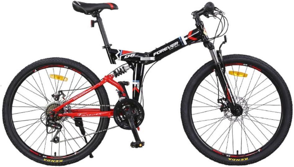 YEARLY Montaña Bicicleta Plegable, Adultos Bicicleta Plegable Velocidad 24 Masculino Amortiguador de Choque Doble Cola Suave Bicicleta Plegable Mujer-Rojo 24inch: Amazon.es: Deportes y aire libre