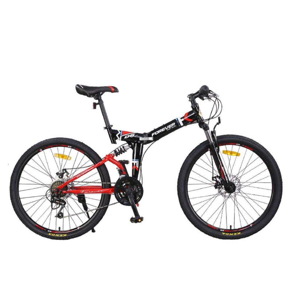 登山 折りたたみ自転車, 大人 折りたたみ自転車 24 スピード 男性 ダブルの衝撃吸収材 柔らかい尻尾 女性 折りたたみ自転車 B07D2BTGPS赤 24inch