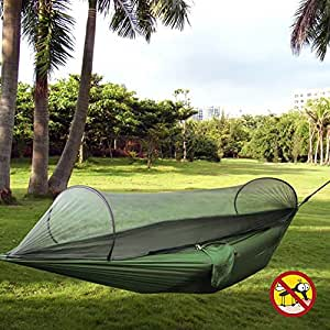 ROGERRAY Hammock Travel Bed Portable Folding Parachute Nylon Fabric Double Jungle Hammock with Bug Net & Tree Straps For Sleeping, Camping, Hiking, Backpacking, Beach (Army Green)