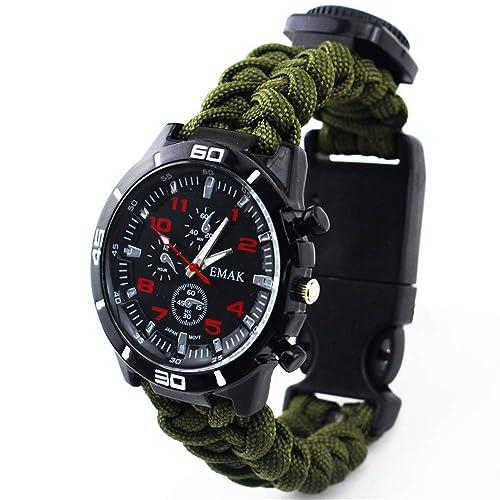 LYZZGZZ Relojes de Pulsera Deportes al Aire Libre Ocio Paraguas Cuerda Tejido Watch Verde del ejército