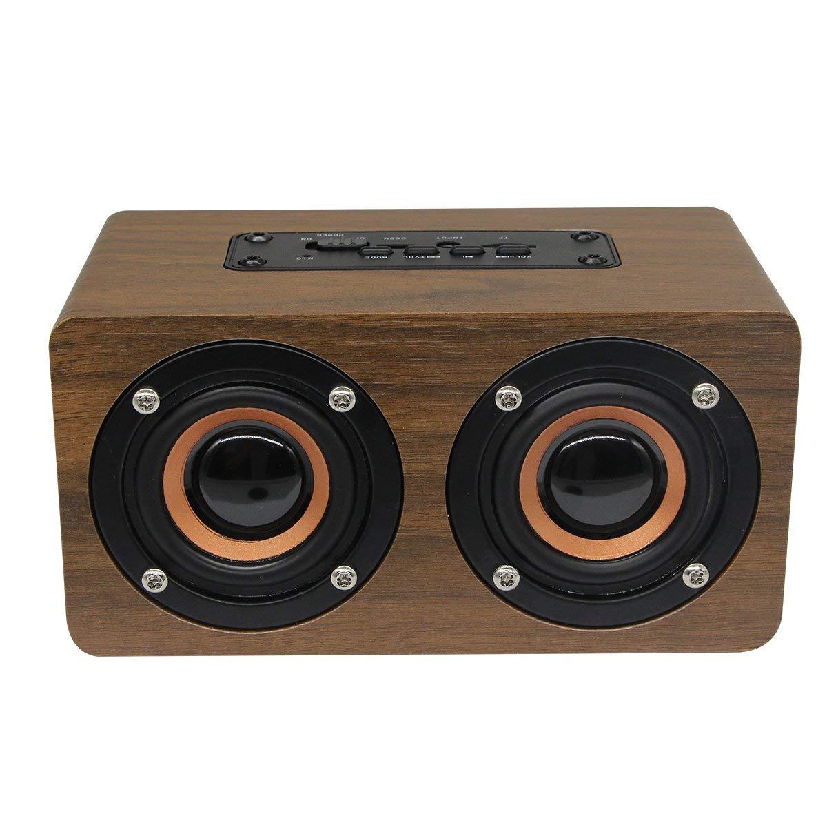 木製Bluetoothスピーカー V4.0ポータブルBluetoothスピーカー 音声プロンプ TFカード 通話機能 アウトドアパーティー ブラウン 木目   B07MFY94MZ