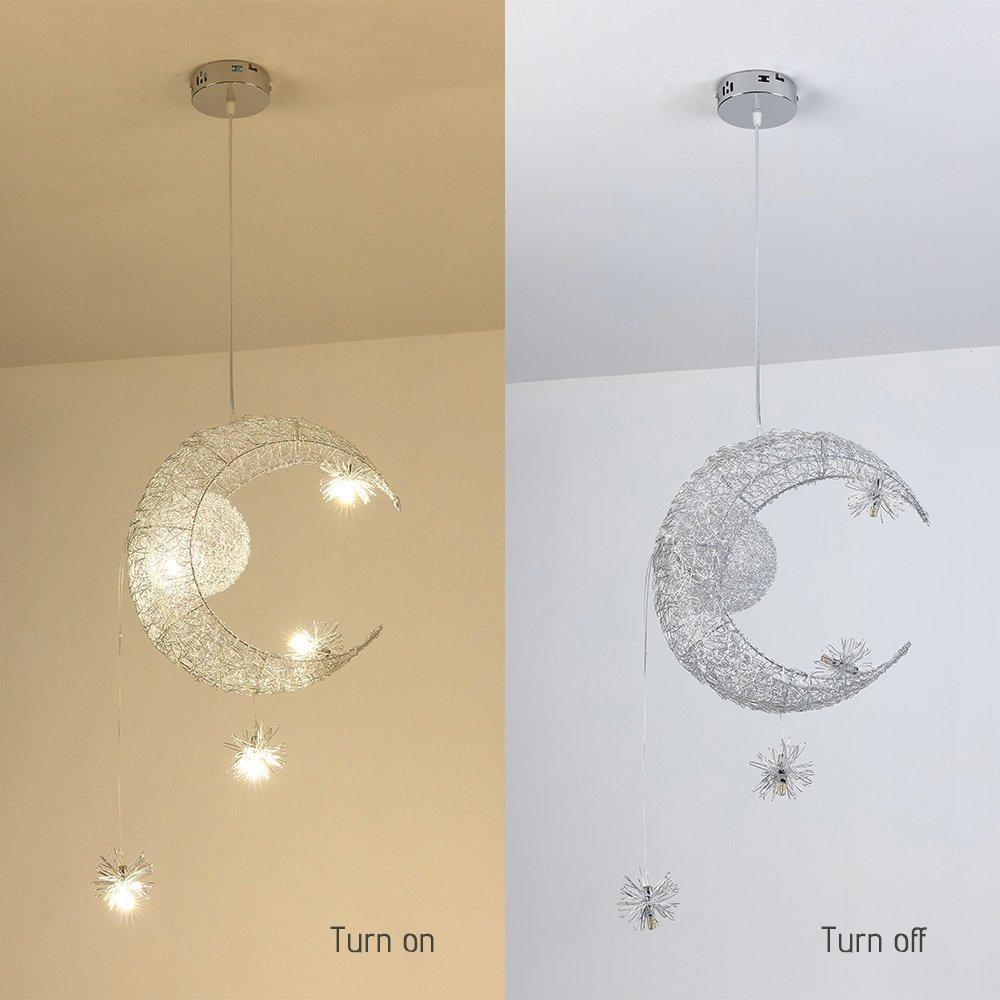 Lámpara de Techo - Homelava Lámpara Colgante LED luz cálida para Habitación de Niño,Color Plata
